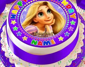 Verworrenen Rapunzel Personalisiert Mit Ihrem Alter Und Namen Vorgeschnittenen Essbare Kuchen Topper Zuckerguss Blatt Dekoration 75 Zoll Runde