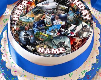 e0eb5bb2a430 games console collage personalised with age and name precut edible cake  topper icing sheet decoration 7.5 inch round