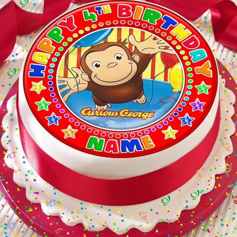 Curious George Personalised Edible Image REAL Icing Cake Topper