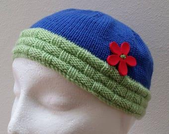 Hand Knitted 100% Merino Wool Garden Design Baby Hat