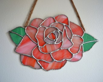 Stained Glass Rose Suncatcher