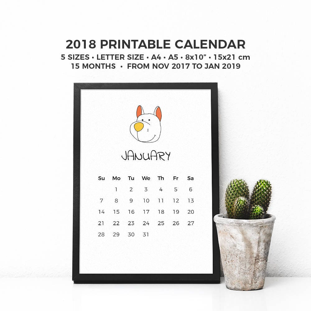 November 2017 To January 2019 Calendar Dogs 2018 Printable Calendar Pets 2018 Planner Minimalist 15 | Etsy