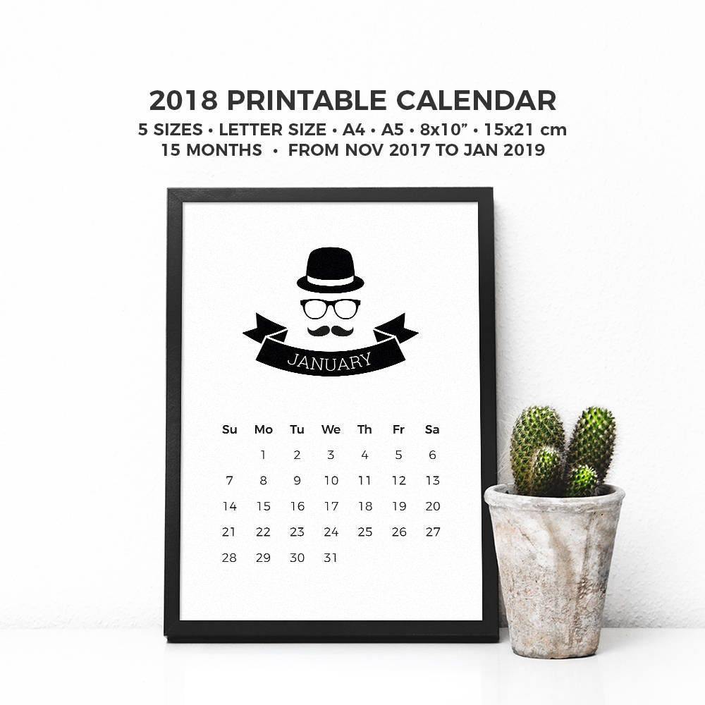 November 2017 To January 2019 Calendar Hipster 2018 Calendar Printable 2018 Calendar Minimalist 15 | Etsy