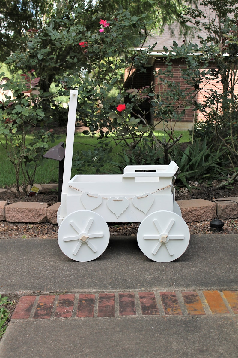 Wooden Wagon For Wedding For Babies 4 Yrs And Younger Ring Bearer Flower Girl Farm Wagon Excellent Photo Prop Shown In Tin White