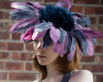 Lavender Gray Navy Purple Feather Flower Ascot Derby Hat Fascinator Wedding Wide Brim Packable Millinery Headpiece Handmade Custom Made