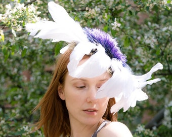 White Purple Feather Flower Ascot Derby Fascinator Mini Cocktail Wide Brim Packable Hat Millinery Headpiece Handmade Custom Made
