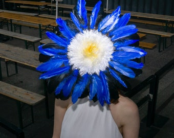 Cobalt Royal Blue White Feather Flower Ascot Derby Hat Fascinator Festival Wide Brim Packable Surreal Millinery Headpiece Hand Custom Made