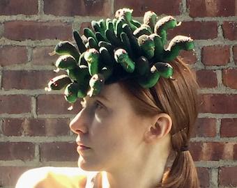 Medusa Snakes Halloween Carnival Festival Royal Ascot Derby Surreal Fascinator Mini Hat Beret Millinery Custom Hand Made Unique