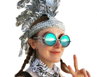 Mohawk Holographic Silver Sparkling Fake Faux Feathers Headdress Summer Festival Halloween Couture Millinery Costume Custom Hand Made