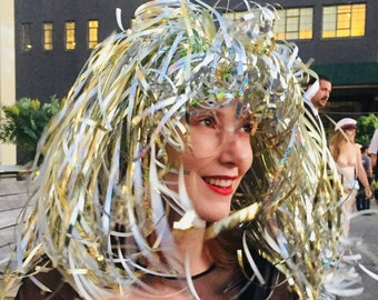 Summer Festival Holographic Silver Gold Glitter Neon Sparkling Halloween Wig Couture Millinery Robot Costume Carnival Custom Hand Made