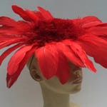 Scarlett Red Red Feather Halloween Flower Fascinator Mini Cocktail Hat Headpiece Millinery Handmade Custom Made Unique Packable