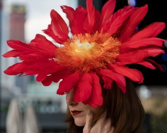 Flame Red Yellow Orange Feather Flower Ascot Derby Hat Fascinator Festival Wide Brim Packable Millinery Headpiece Handmade Custom Made