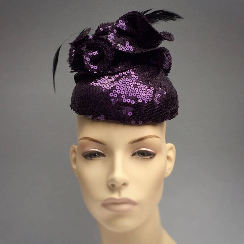 Purple Fascinator Mini Hat with Hand Made Flower and Vintage image 0