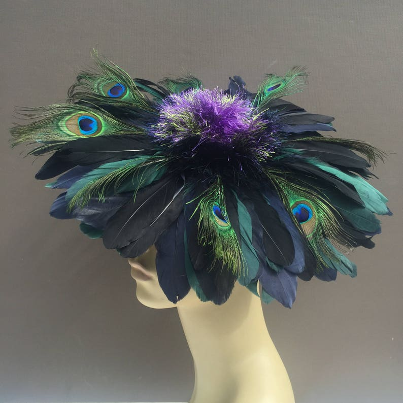 Art Deco Feather Flower Fascinator Ascot Derby Thistle Hat image 0
