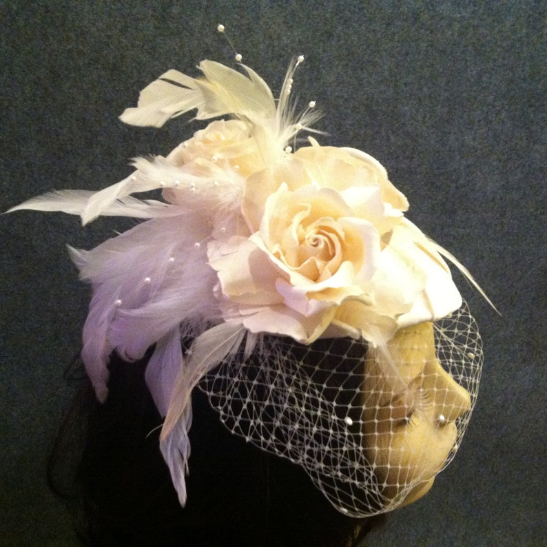 Ivory or Any Color Bridal Headpiece Fascinator Mini Hat image 0
