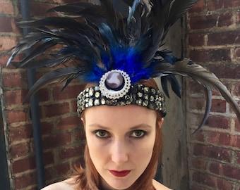 Belle Epoque Headdress Headband Art Deco 1920 Halloween Gatsby Couture Millinery Costume Edwardian Festival Custom Hand Made