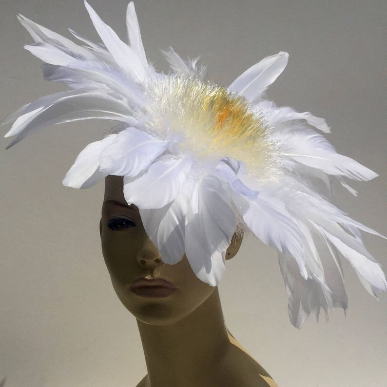White Ivory Yellow Feather Flower Ascot Derby Hat Fascinator image 0