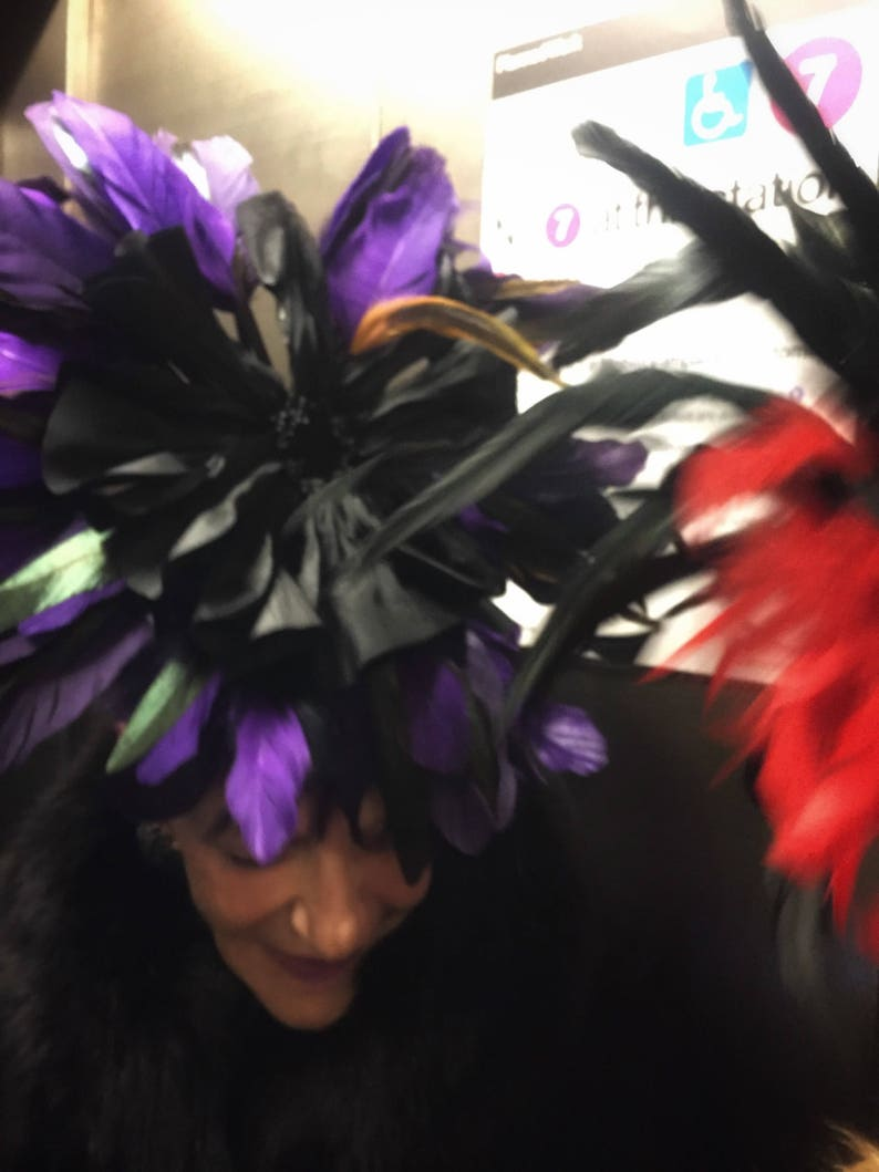 Purple Black Feather Flower Fascinator Wedding Cocktail Hat image 0