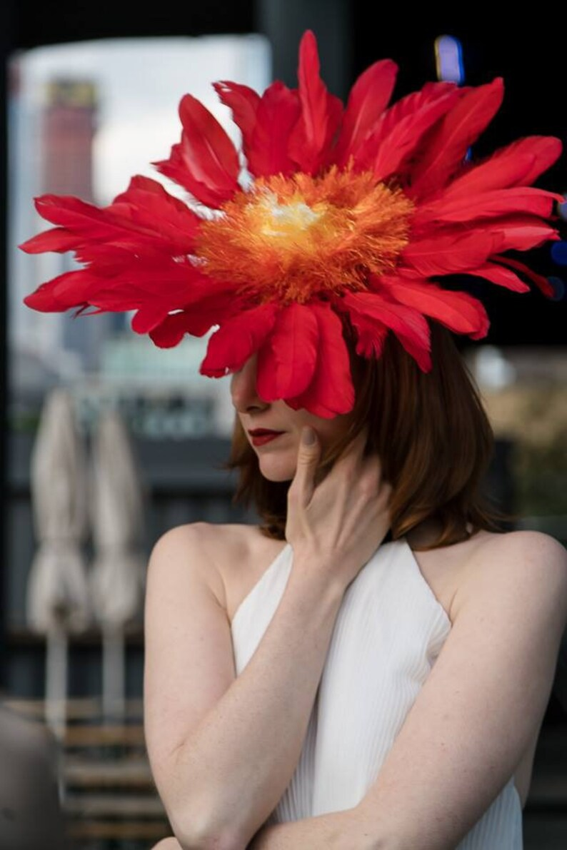 Flame Red Yellow Orange Feather Flower Ascot Derby Hat image 0