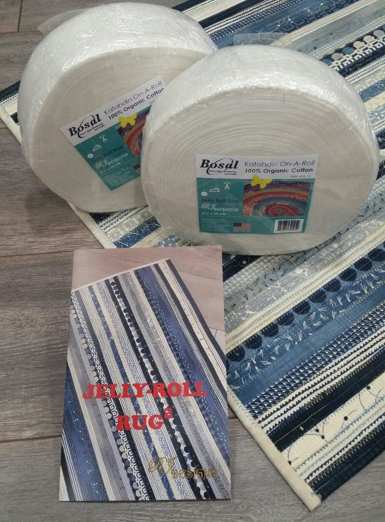 """Jelly Roll Rug Pattern by RJ Designs-Great for Beginner-30/"""" x 44/"""" Area Rug"""