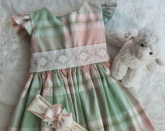Peach and Light Green Plaid Dress with English Mesh Lace on Waist & Angel Sleeves- 18-24 Months