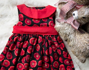 Black and Red Poppy Floral Print Dress- 2T