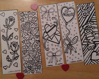 Bookmarks coloring Valentine, coloring