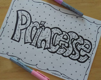 Princess poster, coloring, children, girl, Princess room decor