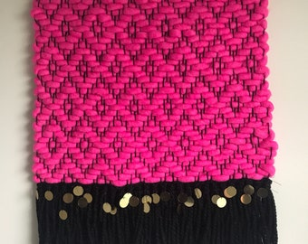 Lucy - Ready To Ship | Wall Hanging | Tapestry | Hot Pink | Sequins | Home Decor