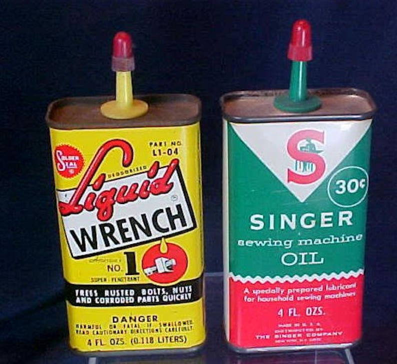2 Antique Tin Oil Cans Singer Sewing Machine Liquid Wrench