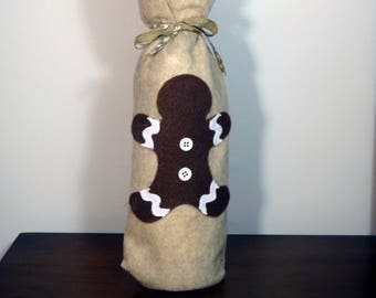 Felt Wine Gift Bag, Gingerbread Christmas Wine Bag, Wine Tote, Tan Wine Gift Bag, Holiday Wine Bag, Gift Bottle Bag, Felt Wine Tote