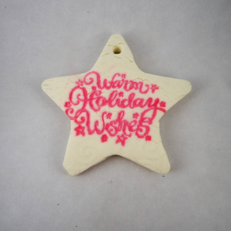Handmade Salt Dough Holiday Ornament Red and White Holiday Wishes Star Ornament Star Clay Decor Gift Tag Christmas Ornament Gift Tag