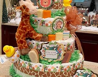 5 Tier Jungle Theme Diaper Cake, Jungle Safari Diaper Cake, Zoo Animal Diaper Cake, Giraffe Diaper Cake