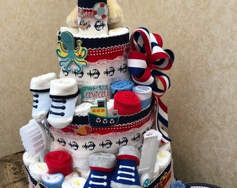 Nautical Diaper Cake, Diaper Cake, Baby Boy Diaper Cake, Baby Shower Gift, Mom To Be Gift, Baby Shower Gifts