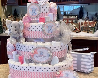 5 Tier Pink Elephant Diaper Cake for Baby Girl, Diaper Cake Centerpiece, Diaper Cake for Girl, Diaper Cake