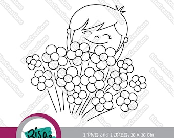 Girl and Flowers Digital Stamp, Love Digital Stamps, Little Girl Clipart, Flower Clipart, Flower Coloring Pages, Scrapbooking