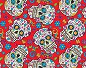 Folkloric Skulls,Sugar Skull Fabric, The Day of The Dead Fabric,Cotton Skull Fabric by the Yard-FSR