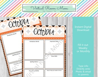 october newsletters monthly or weekly newsletter templates etsy