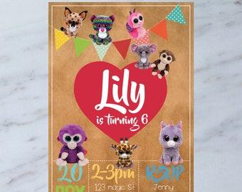Personalised Ty Beanie Boos Kids Birthday Party Invitation Invite DIGITAL You Print
