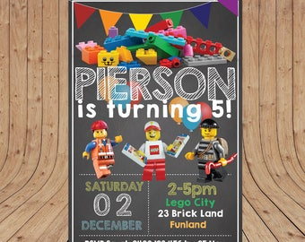 Personalised LEGO CITY  Kids Birthday Party Invitation DIGITAL You Print