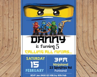 Personalised Lego NINJAGO Blue Jay Birthday Party Invitation DIGITAL You Print