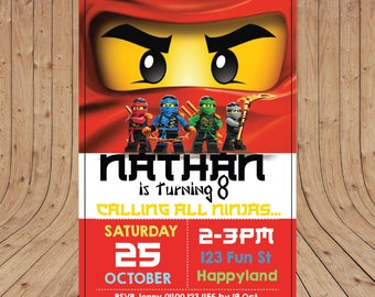 Personalised Lego NINJAGOKai Red Birthday Party Invitation DIGITAL You Print