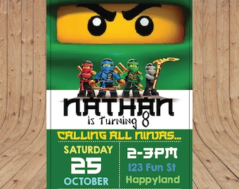 Personalised Lego NINJAGO Green Lloyd Birthday Party Invitation DIGITAL You Print