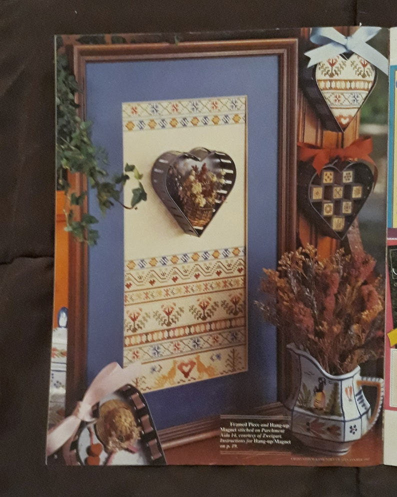 Valentine/'s from Jan Feb 1992 Vintage Cross Stitch /& Country Crafts Magazine Handkerchief Dolls #V287 RibbonFloss Great Complete