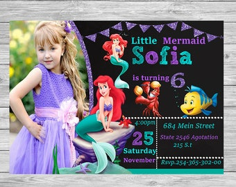 Little Mermaid Invitation- Little Mermaid Invite-Little Mermaid Birthday Invitation Little Mermaid Card-Personalized
