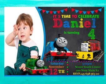 Thomas the  Train Invitation, Thomas the Train Birthday Invitation Thomas the Train Party, Printable , chalkboard
