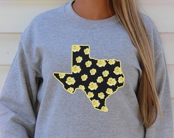 Yellow Rose Texas Sweatshirt, Plus Size Available, Texas Womens Shirt, Gift for Texas lover, Plus Size Texas Sweatshirt, Unisex Oversized