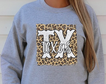 Leopard Texas Sweater, Plus Size Available, Leopard Print Texas Shirt, Gift for Texas lover, State Pride, TX shirt Women, Distressed Look