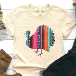 Cute Distressed Serape Print Turkey Shirt for Thanksgiving, Plus Size Available, Bella Canvas Unisex Shirt, Thanksgiving Tee, Holiday Shirt