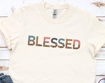 Fall Leopard Print Blessed Shirt, Fall Shirts for Women, Plus Size Available, Pumpkin Patch, Thanksgiving Tee, Cute Leopard Words Shirt
